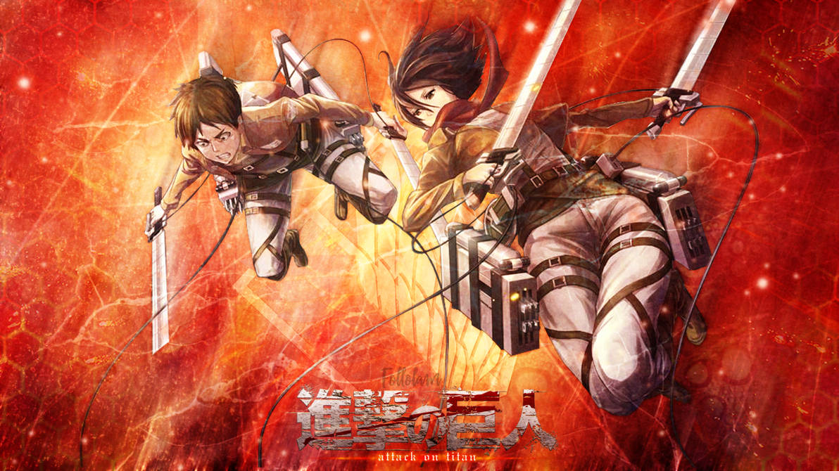 Attack On Titan Wallpaper Eren And Mikasa By Follolam On Deviantart