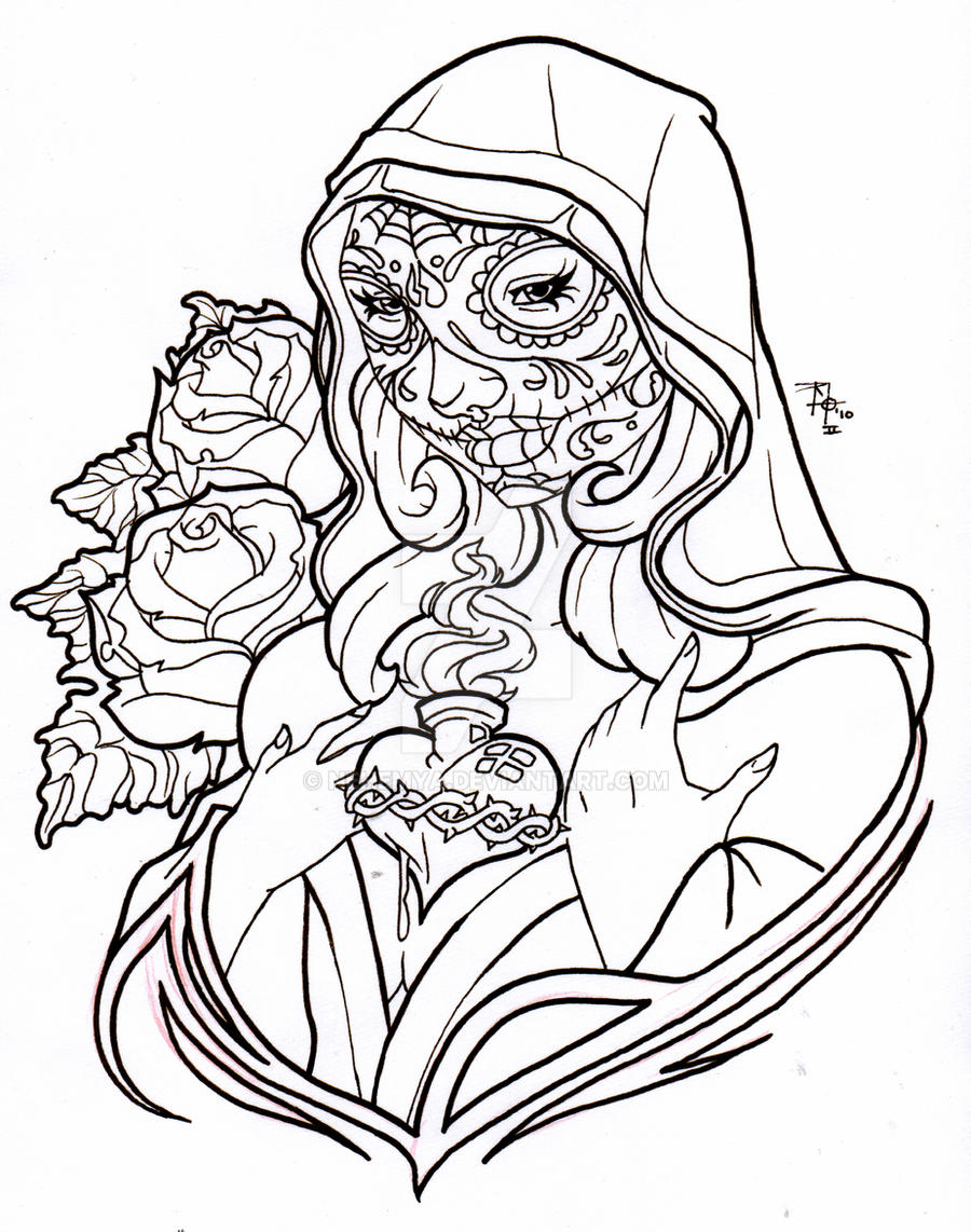 Day of the dead virgin mary by nehemya on deviantart for Day of dead coloring pages