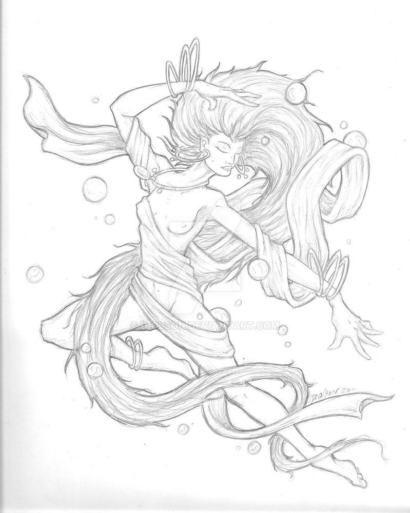 Water Nymph Line Art by D-Olson on DeviantArt