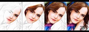 Emma Watson coloured  drawing (work in progress)