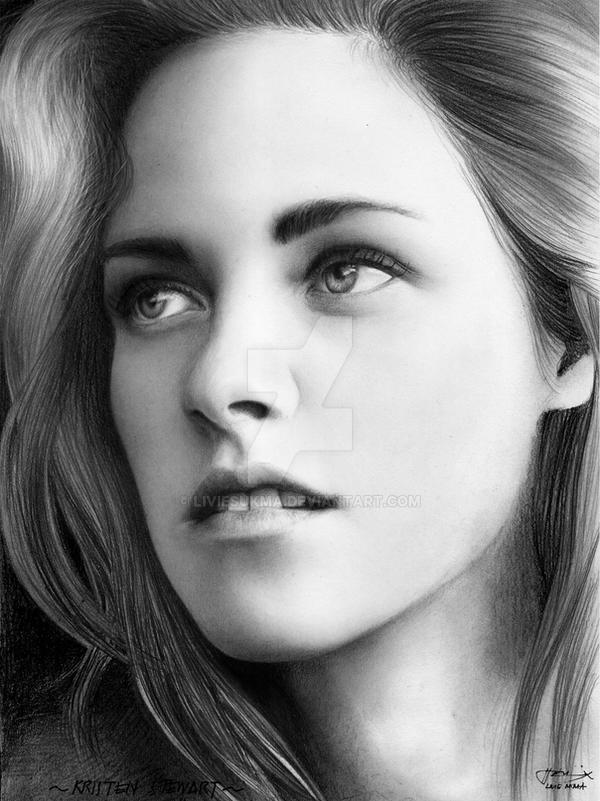 kristen stewart (b~w drawing) by LivieSukma