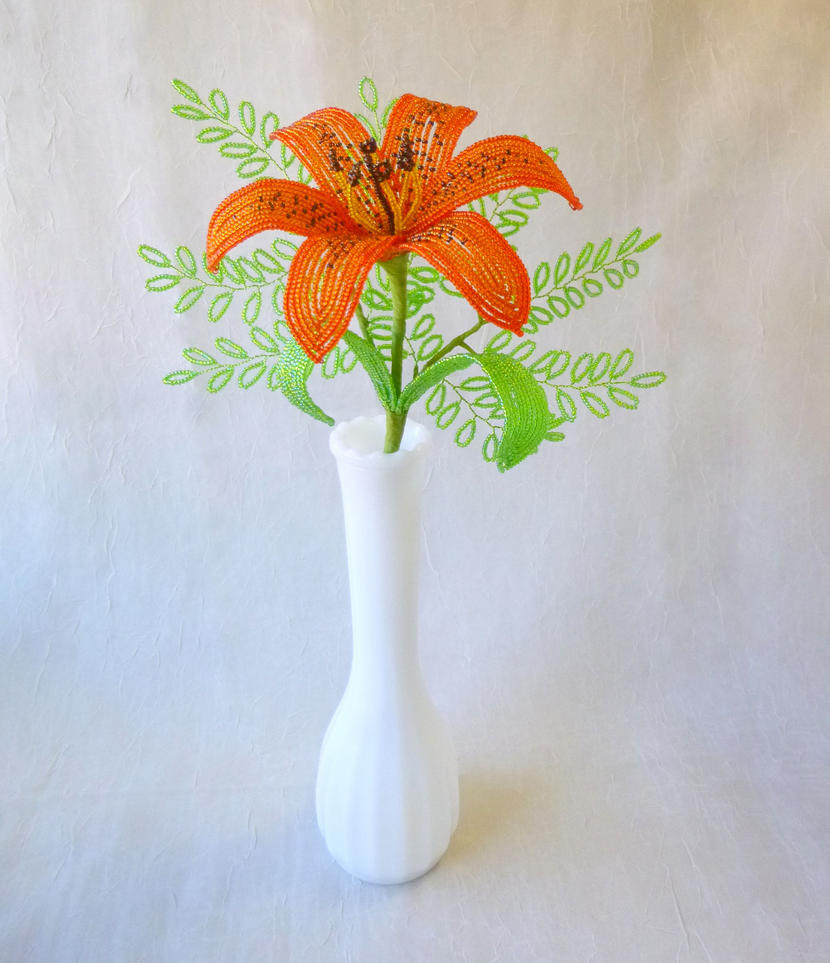 French Beaded Tiger Lily With Ferns By Laurenhcreations On Deviantart