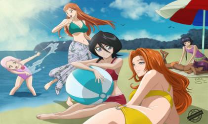 bleach Girls At the beach by DemonFoxKira
