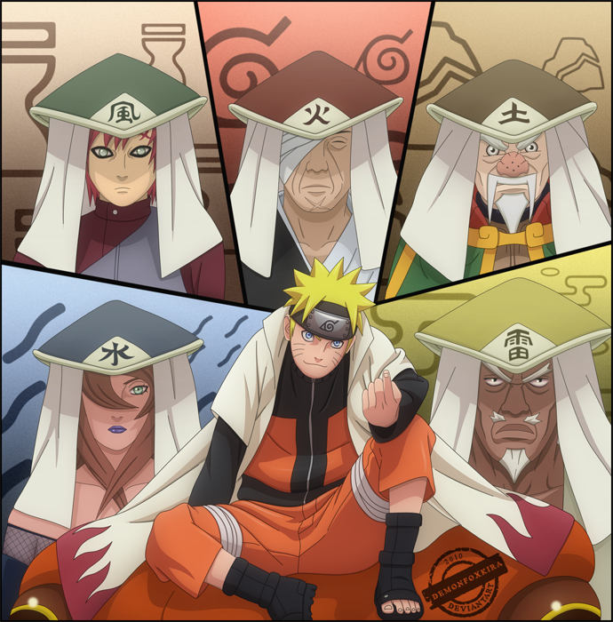 Naruto with the 5 kages by demonfoxkira on deviantart for Cuarto kazekage vs orochimaru