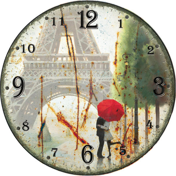 Wall Clock Artwork : Wall clock art retro paris vintage by jaircardoso on