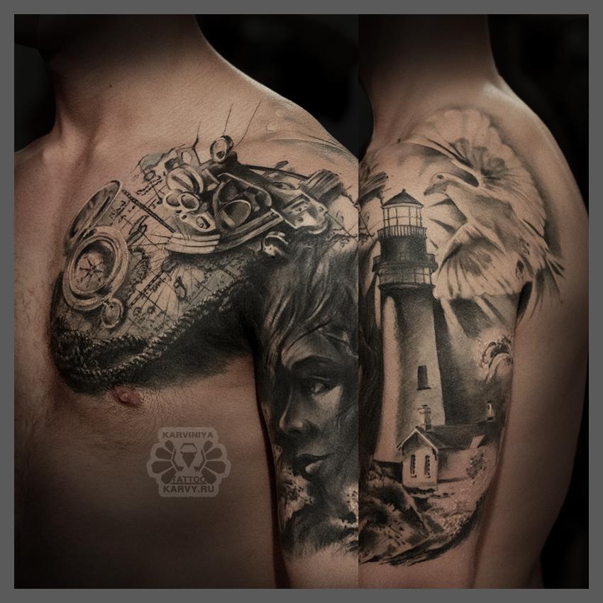 girl and lighthouse by Karviniya