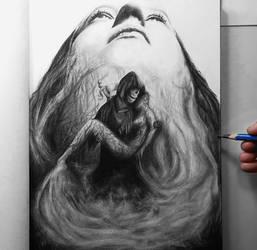 Grim Reaper Graphite DrawlIoween portrait drawing
