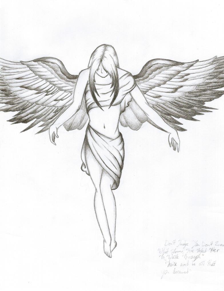 angel tattoo sketch by creativelifeinthego on deviantart