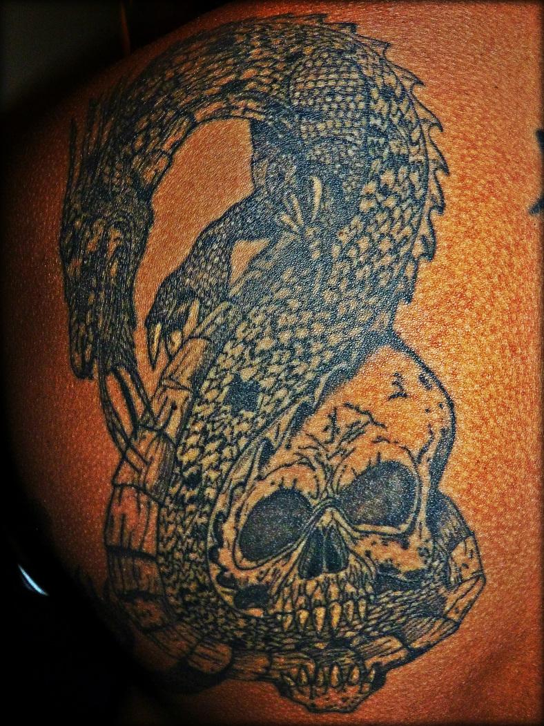 Dragon / Skull tattoo by QueerOfThorns on DeviantArt