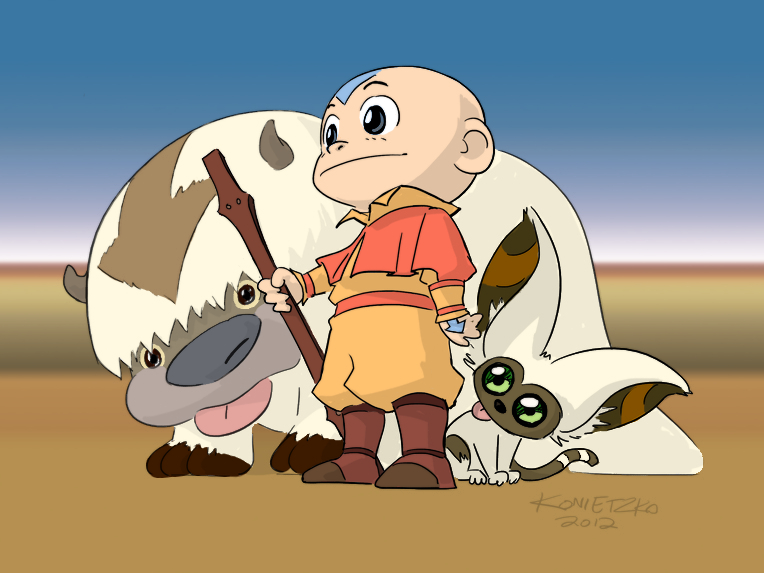Aang Appa Momo By Bryan Konietzko Coloured U No Poo