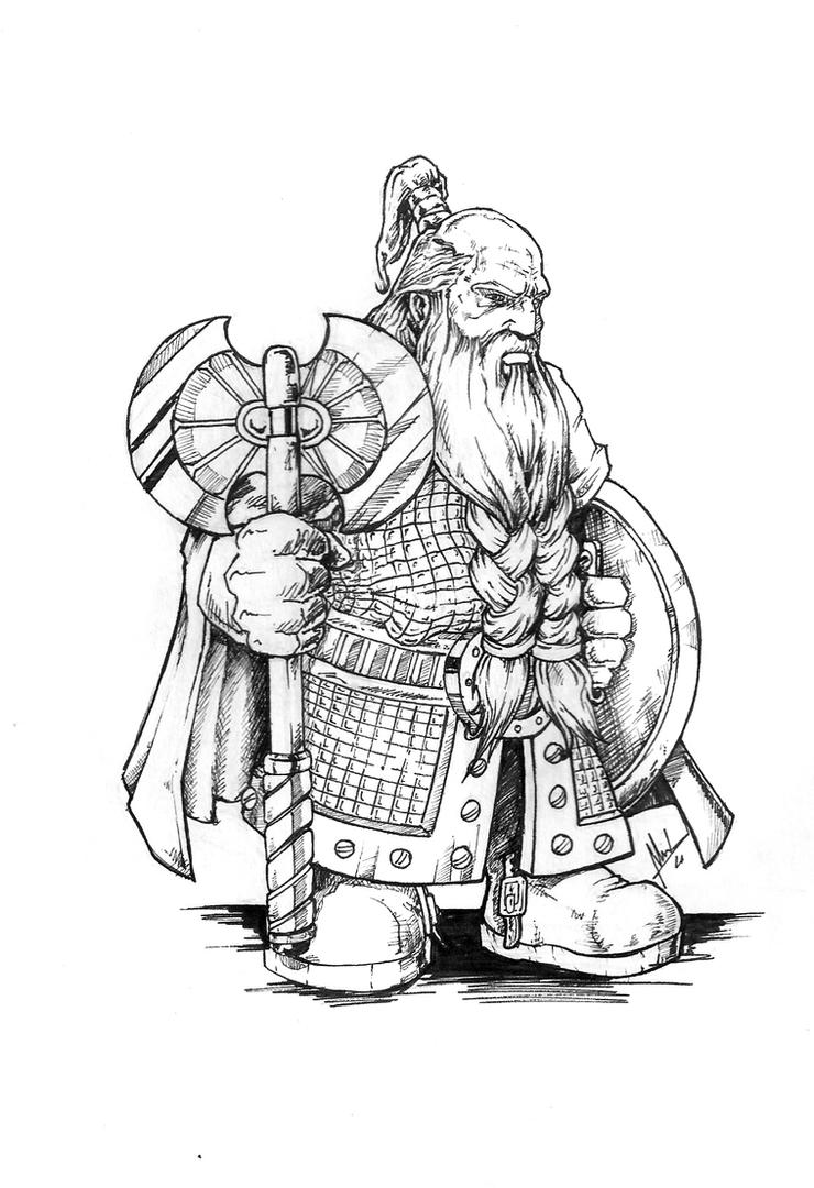 D Line Drawings : Dwarf warrior by troubadour on deviantart