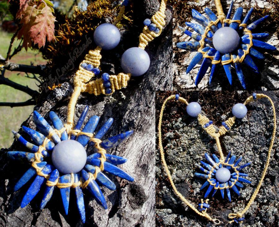 Blue Sun Rising Stone/Macrame Necklace