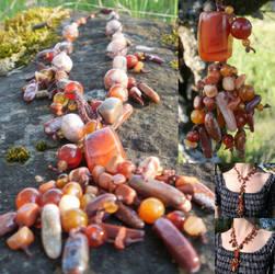 Lion's Mane Jelly Fish Stone/Macrame Necklace