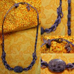 Plum Stone/Macrame Necklace