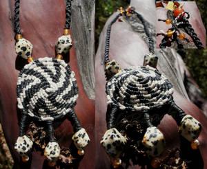 Quagga Medallion Stone/Macrame Necklace