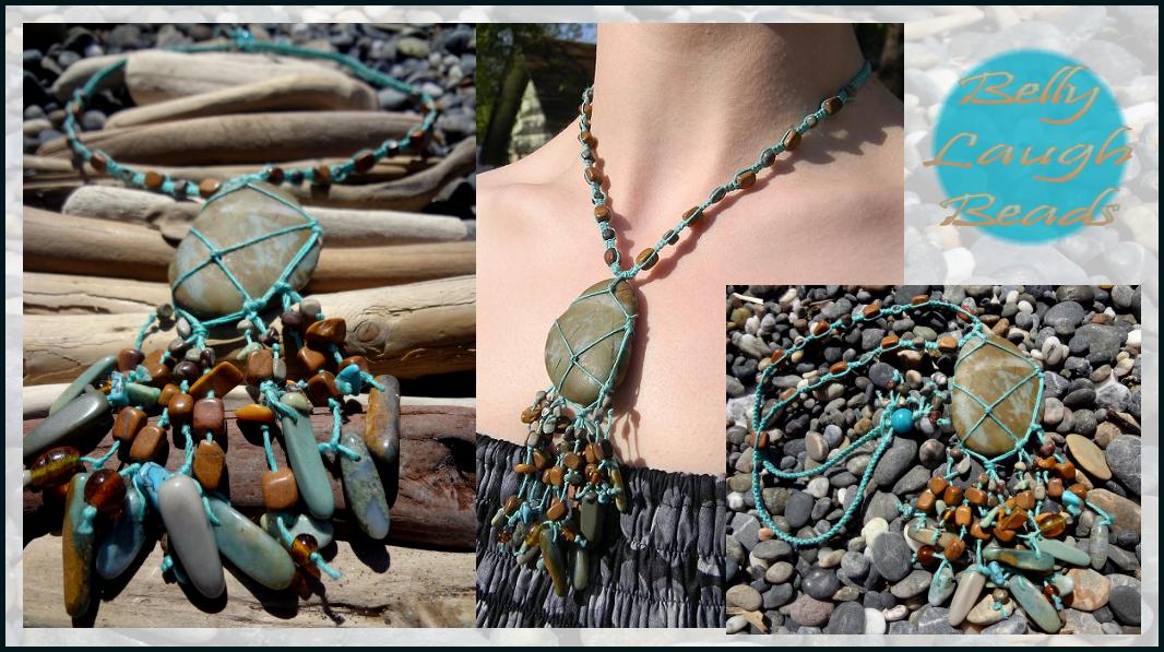 Pebble Beach Stone/Macrame Necklace by BellyLaughBeads on DeviantArt