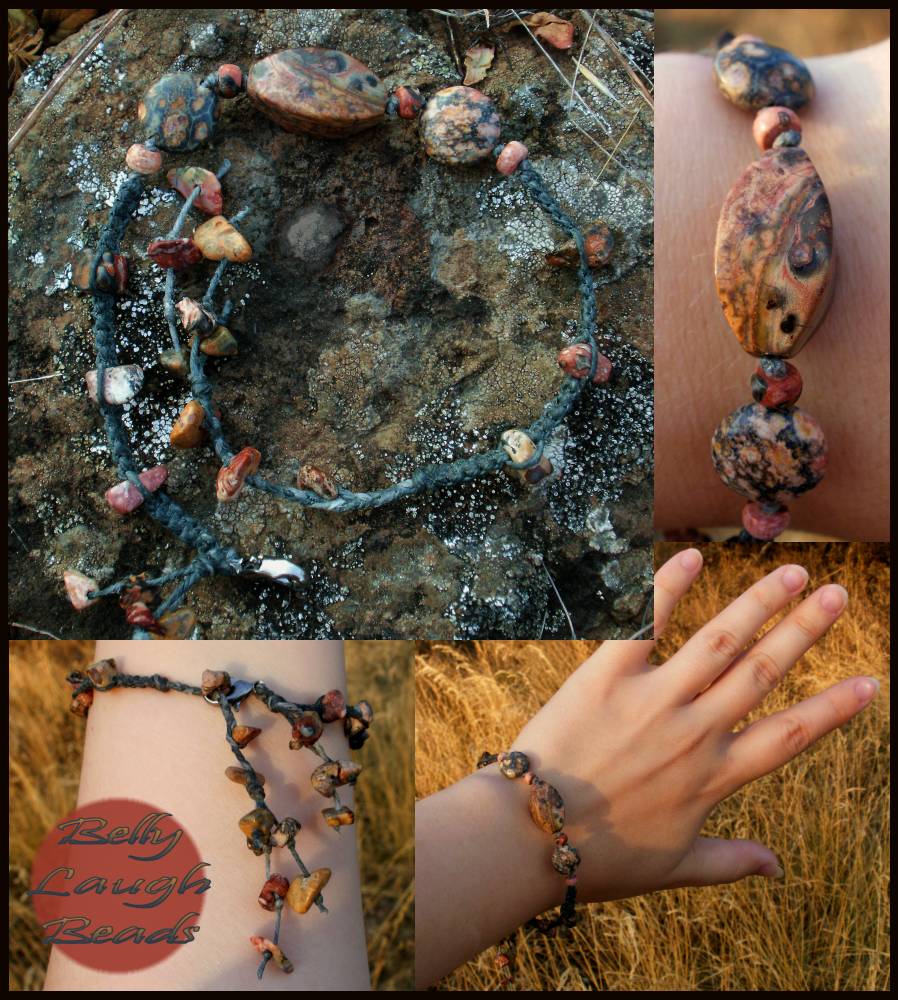 Leopard Jasper Stone/Macrame Bracelet by BellyLaughBeads