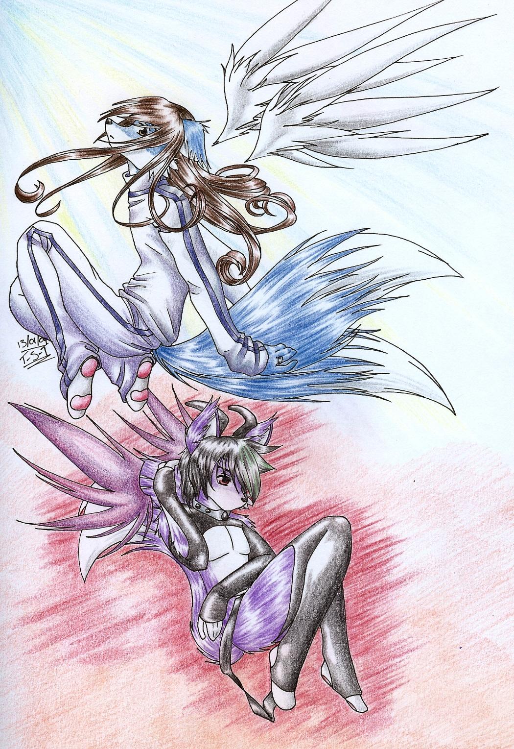 Demon VS Angel by Teh-stupid-bug