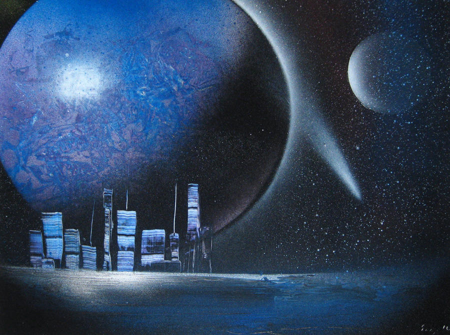 space painting 007 39 cityscape 39 by christine eige on deviantart. Black Bedroom Furniture Sets. Home Design Ideas