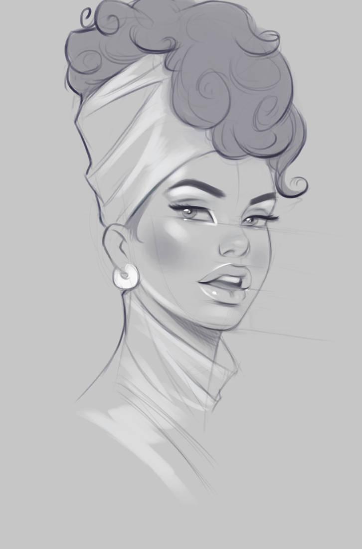 Stylized Face Sketch by janunolart