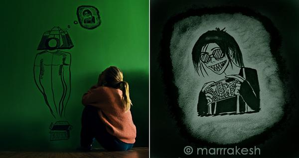 Hunger on a wall by Marrrakesh