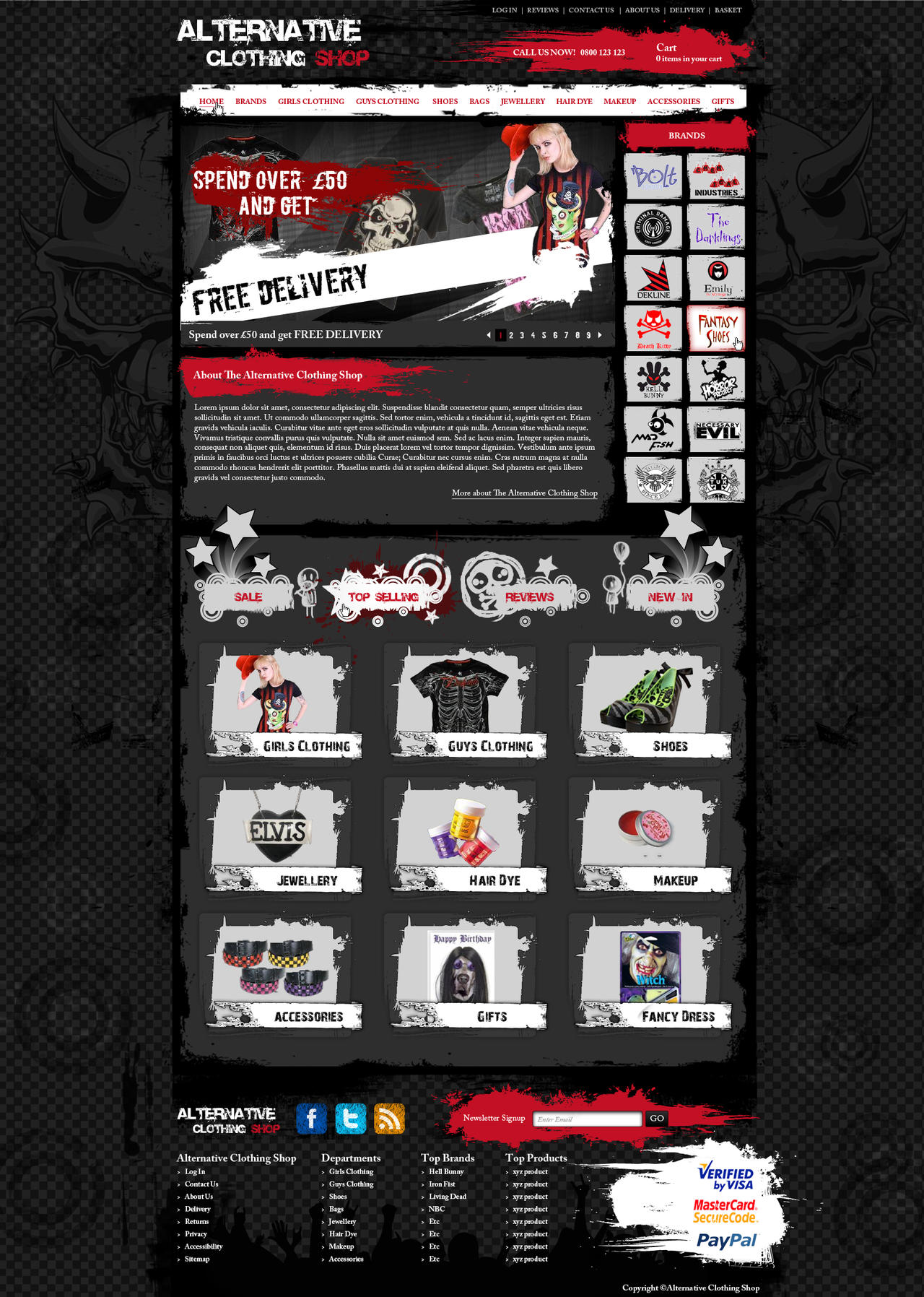 Alternative clothing shop website design by for Websites to create shirts