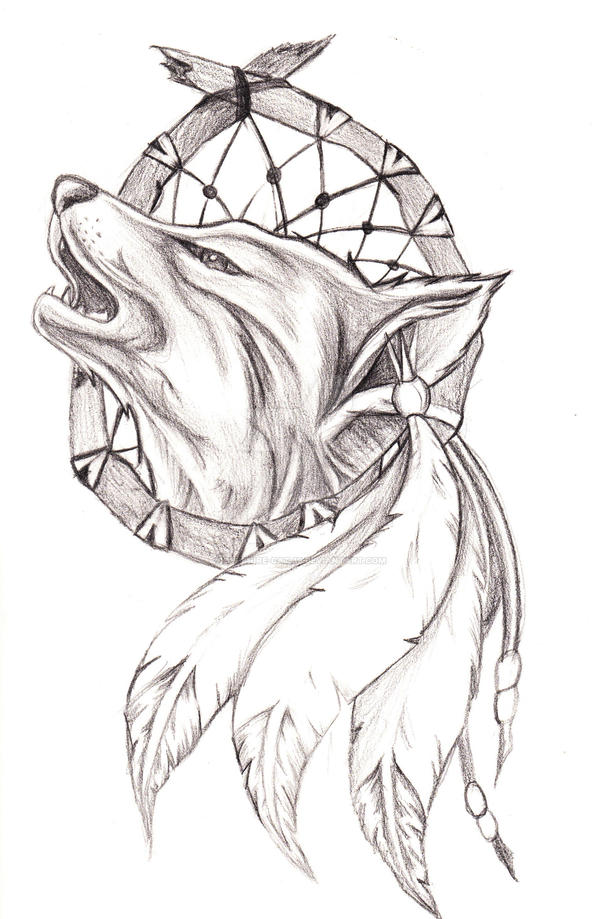 dreamcatcher wolves feathers white - photo #20