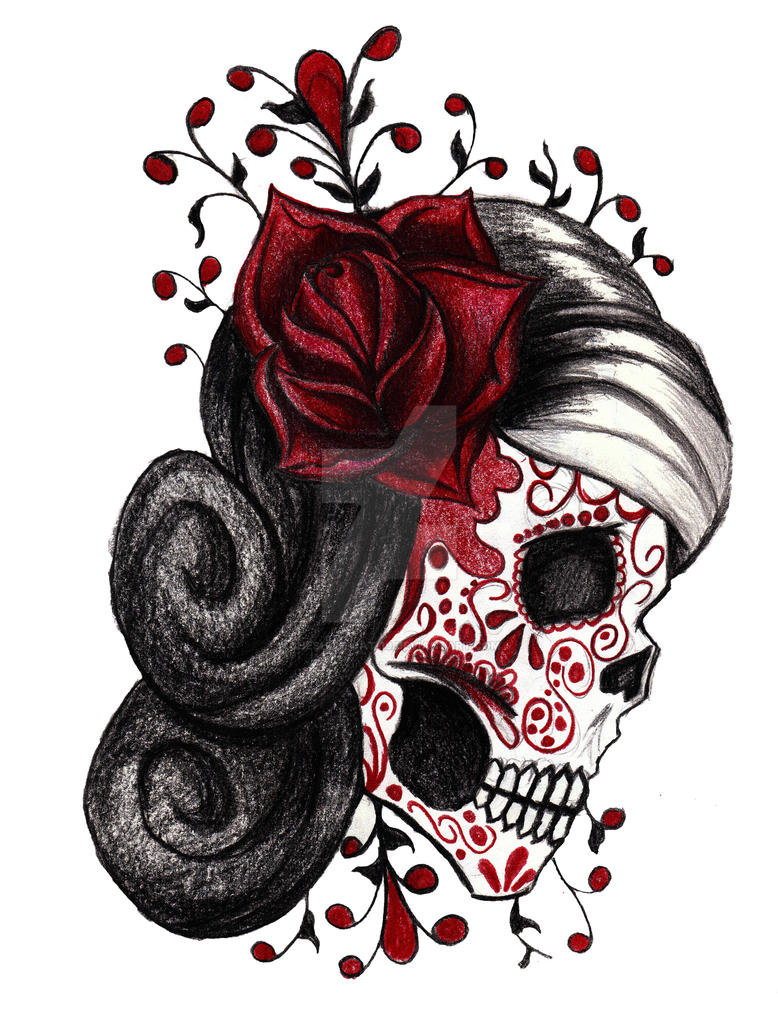 Red Rose Sugar Skull by cheshire-cat-19 on DeviantArt