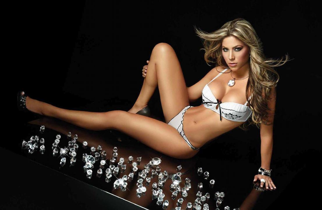 Daniela Tamayo White/Black Trim Thong Lingerie by Bikinimods