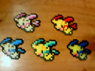 Perlers: Plusle and Minun Variants by Superstrider