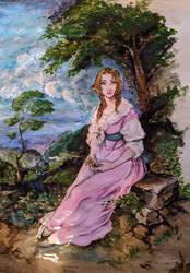 Aerith dans le style de Thomas Gainsborough