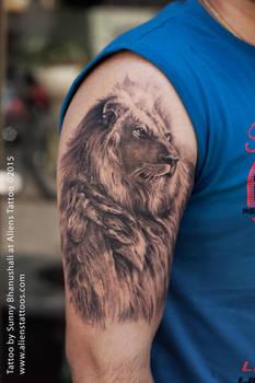 Amazing Lion Tattoo by Sunny Bhanushali at Aliens