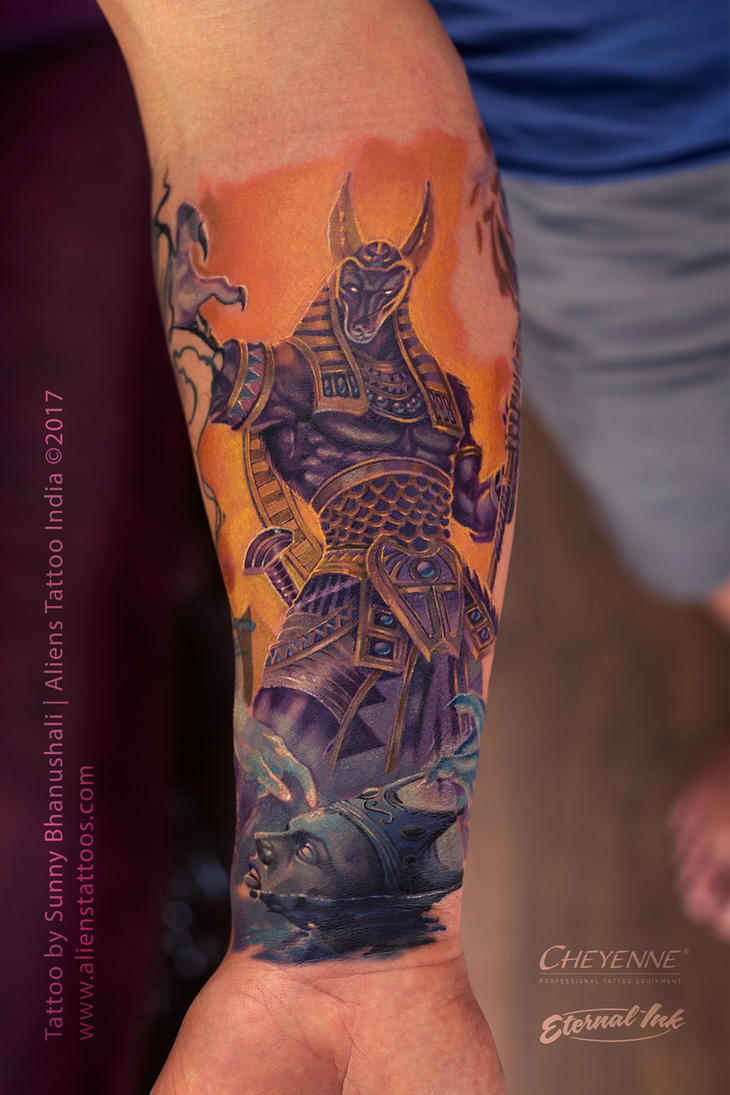 Anubis Tattoo by Sunny Bhanushali at Aliens Tattoo by Javagreeen