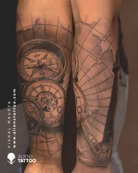 Amazing Travel Tattoo By Vishal Maurya.