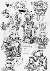 DOOM LADY doodles - Part 1 by FrancoTieppo