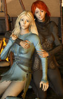 Aerie and Imoen by Coutelier