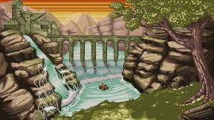 Mountain sunset   Pixel art BG