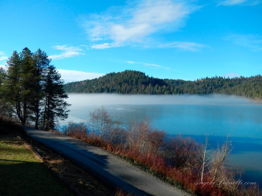 Misty Blue Lake by AngelaLeonetti