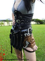 corset and utility belt skirt by HiddenTreasury