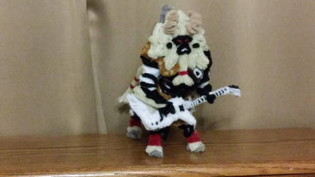 Pipe Cleaner White Maned Lynel Playing Guitar by MetalliSnowLeopard
