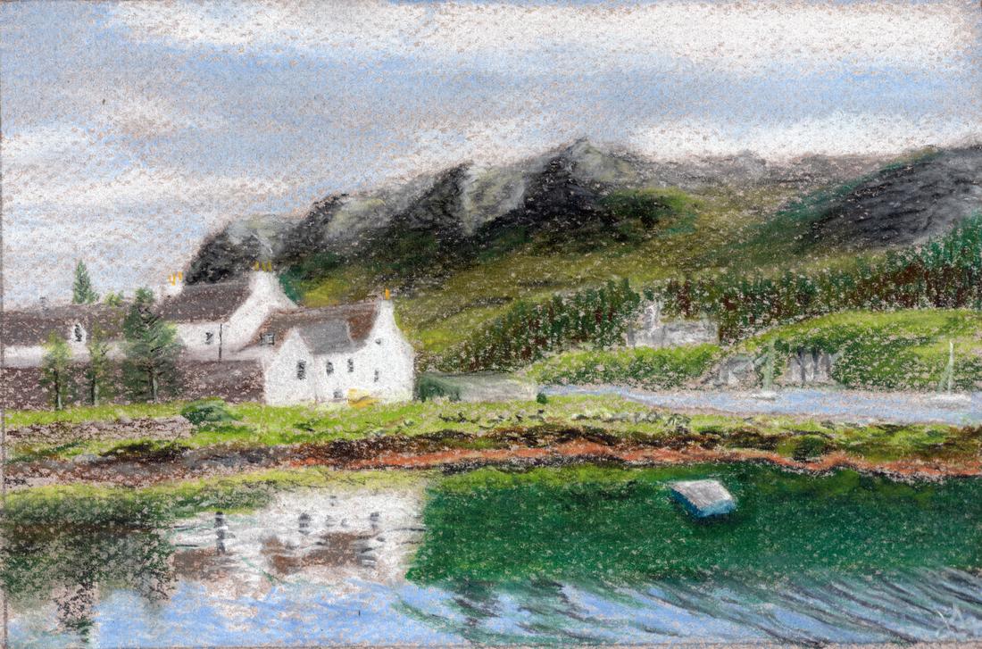 Scottish Cottage - pastel pencil by jerryhat
