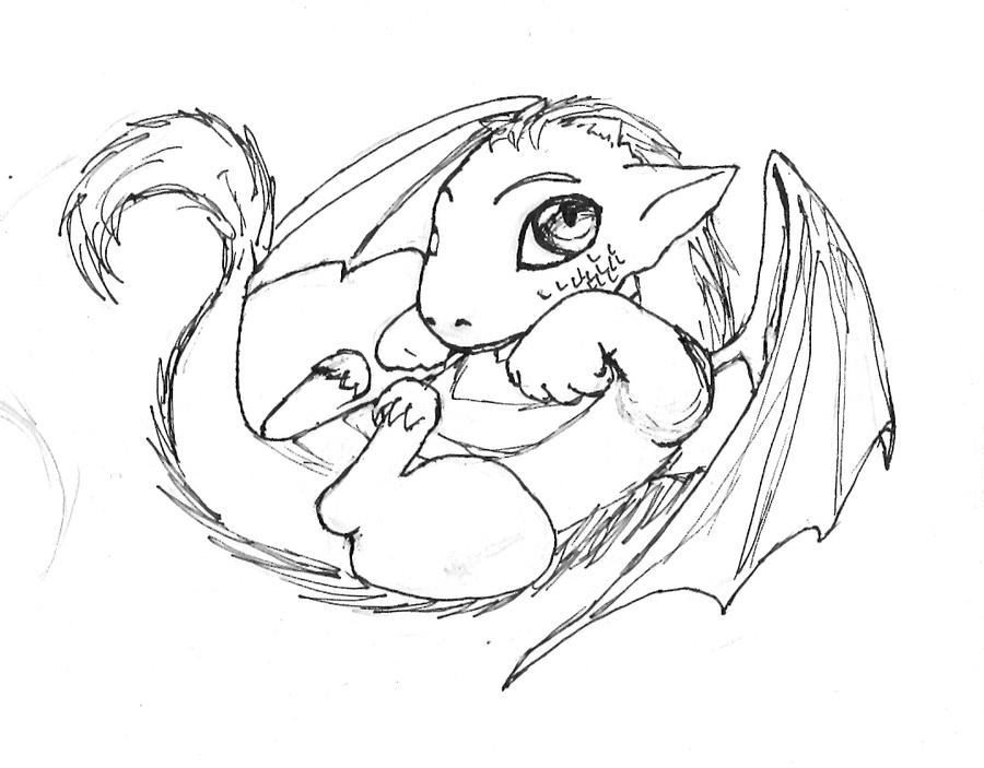 Baby dragon by nihil01lin on deviantart for Cute baby dragon coloring pages