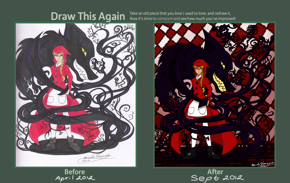 Draw This Again Meme Red and Shadow by Veronyak
