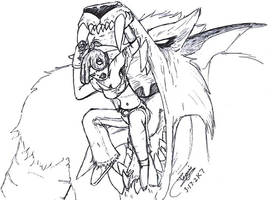 Kya vs the giant Wolfen by zmorphcom