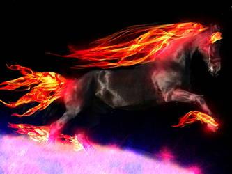 Flame Horse on Astral Plain by bellarosev