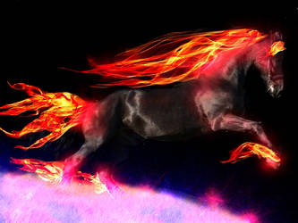 Flame Horse on Astral Plain by bellarosev