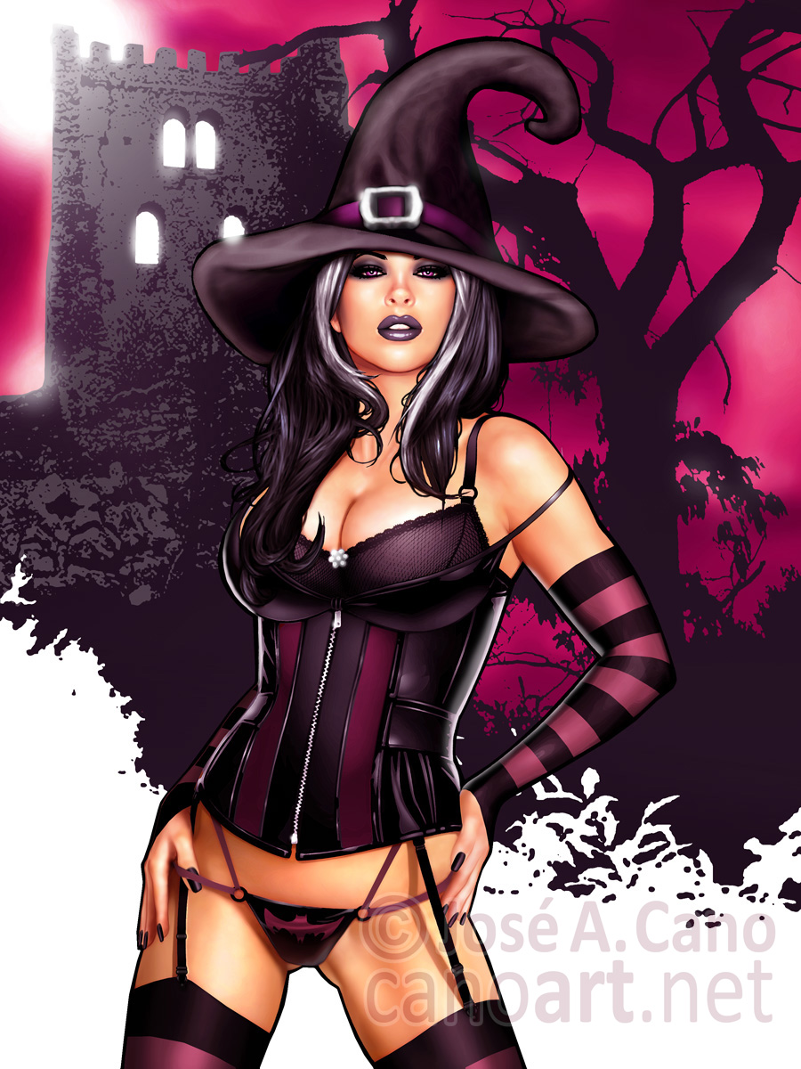 Sexy halloween witch drawing
