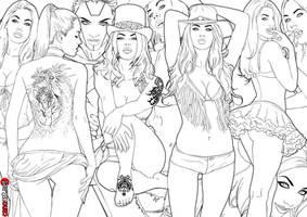 lineart girls by jocachi