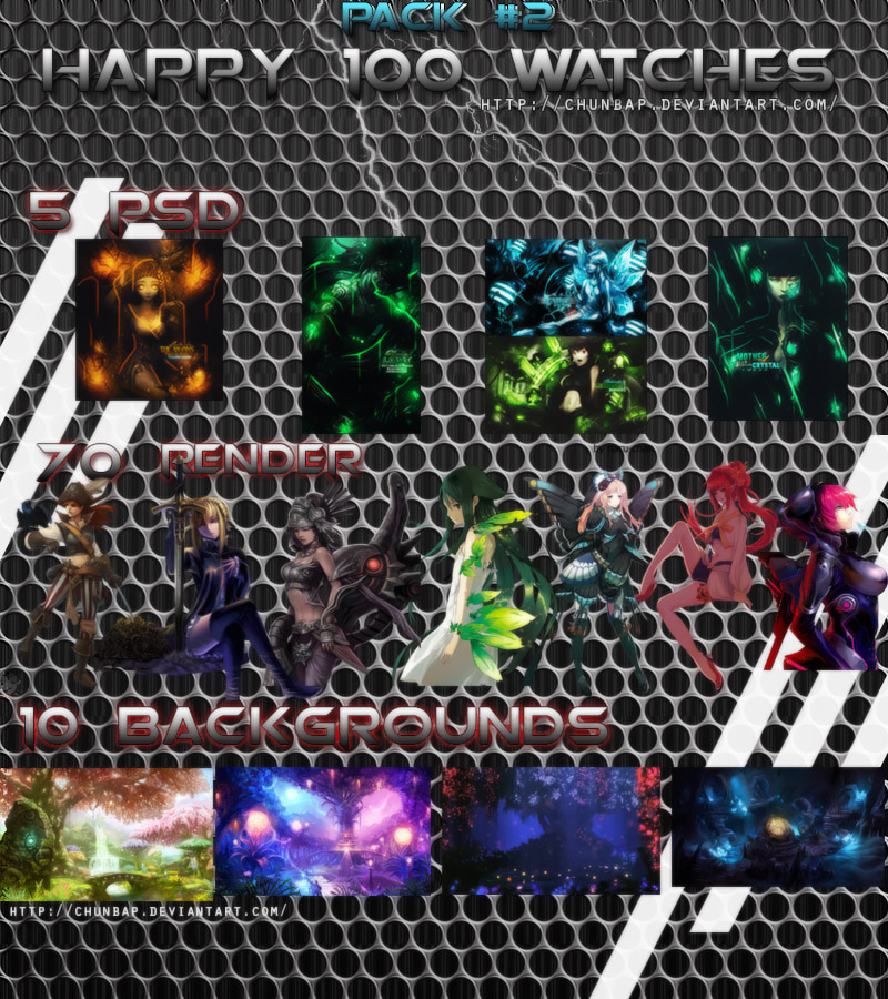Pack 2 Happy 100 Watchers [ Close ] by Mazycris