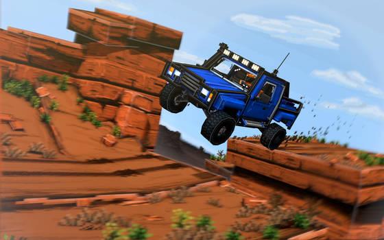 Pickup truck racing in a mesa